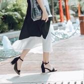 粗跟涼鞋女夏仙女風一字扣帶高跟鞋中跟學生韓版百搭少女 伊鞋本鋪