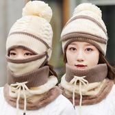 帽子女冬季保暖毛線帽 耳針織帽女防寒圍脖