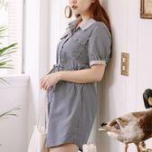 Poly Lulu 後縷空綁帶襯衫領條紋洋裝-深藍【92270409】