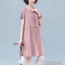 洋裝棉麻文藝連身裙夏季新款韓版大碼寬松顯瘦休閒短袖氣質A字裙 快速出貨