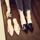新款正韓尖頭穆勒鞋女平底包頭懶人半拖鞋外穿夏平跟涼鞋