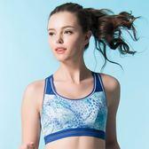 華歌爾-專業系列C-E罩杯無鋼圈M-3L運動胸罩(印花藍)背心式NBB127-D3