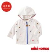 MIKI HOUSE 日本製 夏季抗UV滿版普奇熊刺繡連帽透氣外套