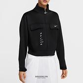 NIKE 外套 NSW SWOOSH 黑 立領工裝 短版 女(布魯克林) CU5679-010