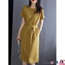 熱賣大碼洋裝 連身裙女夏裝2021年新款寬鬆大碼胖MM顯瘦氣質收腰中長款短袖裙子 coco
