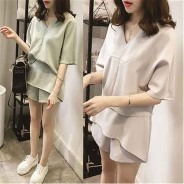 夏季新款 套裝 寬鬆 短袖 雪紡衫 短褲 兩件套 韓版