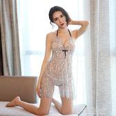 性感睡衣情趣睡衣 性感睡裙女秋透明薄沙吊帶短裙火辣成人內衣極度誘惑   草莓妞妞