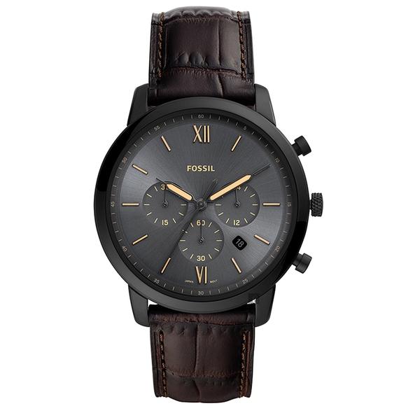 FOSSIL NEUTRA 時尚流行計時手錶-黑x深咖啡/44mm FS5579