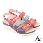 A.S.O 挺麗氣墊 全真皮撞色圖騰抗菌奈米鞋墊休閒涼鞋 紅