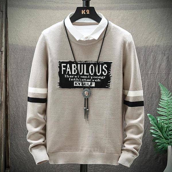2020春秋季新款男士韓版襯衫領毛衣潮流個性男裝針織衫假兩件線衣 依凡卡時尚