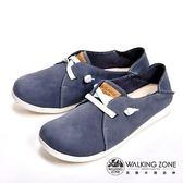 WALKING ZONE 台灣製可踩腳兩穿懶人休閒女鞋-藍(另有紅)