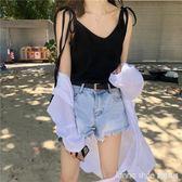 夏季韓版chic百搭顯瘦繫帶V領坑條打底上衣寬鬆純色吊帶背心女潮