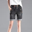 五分牛仔褲 新款牛仔短褲女高腰五分褲寬鬆闊腿褲彈力鬆緊腰女夏季短褲 曼慕