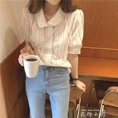 夏季2021新款娃娃領蕾絲襯衫學生開衫上衣寬鬆百搭鏤空短袖襯衣女
