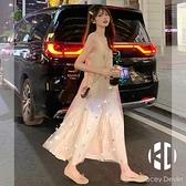 法式碎花雪紡吊帶連身裙兩件套夏季網紗長裙仙女森系甜美超仙裙子【Kacey Devlin 】