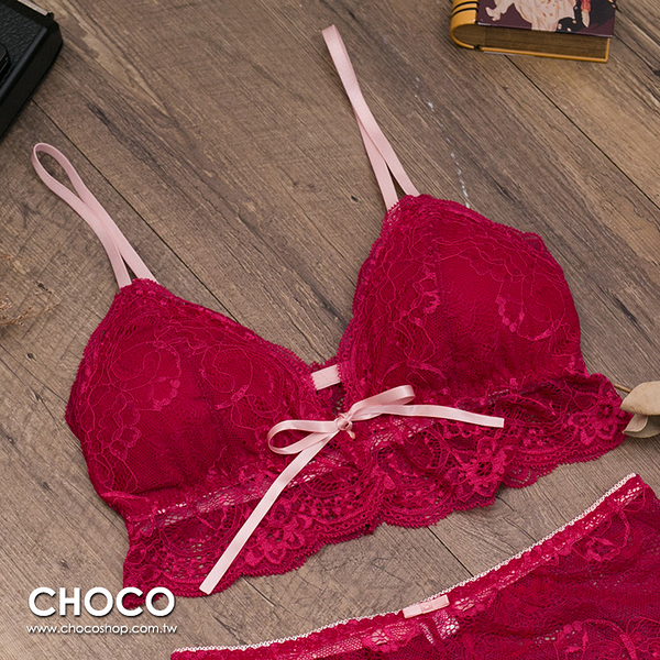 Choco Shop-布拉格之戀‧前釦無鋼圈服貼包覆美胸內衣(紅色) S~L