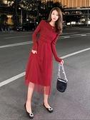 配大衣紅色裙子網紗修身針織洋裝2020秋冬收腰顯瘦氣質打底內搭 【年貨大集Sale】