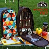 戶外炊具7件套裝野營廚具便攜不銹鋼餐具露營野餐用品燒烤工具卡卡西