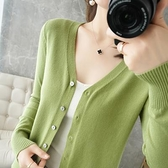 長袖針織衫~v領針織開衫女寬松大碼薄款毛衣百搭外套純色打底羊毛衫BF19A莎菲娜