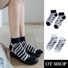 OT SHOP[現貨]襪子 船型襪 短襪 女款 棉質 動物紋 斑馬紋 潮流個性 百搭時尚配件 黑/白色襪口 M1110