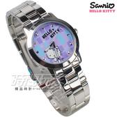 HELLO KITTY 凱蒂貓 紫色格紋 甜美時尚錶 不銹鋼  女錶 紫色 防水手錶 LK683LWVI