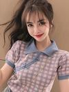 短袖T恤 夏季中國風復古盤扣設計POLO領網紅針織衫格子短袖T恤旗袍小上衣 伊蒂斯