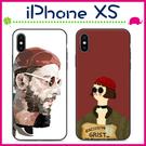 Apple iPhoneXs Max 情侶款手機殼 彩繪磨砂保護套 全包邊手機套 搞怪背蓋 個性保護殼 黑邊後蓋