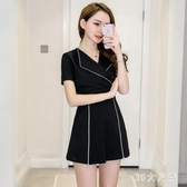 2020夏新款時尚氣質翻領短袖修身顯瘦拉鏈式OL職業套裝連身裙褲女 FX6714 【MG大尺碼】