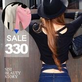 SISI【L5002】誘人曲線 性感背交叉長袖羅紋短版上衣 素色長袖圓領修身小可愛