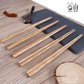 筷子家用實木家庭裝天然櫟木防滑防霉創意個性10雙尖頭日式筷 東京衣秀