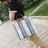 全館83折 手提帆布包女2019新款撞色韓版單肩簡約學生書包大容量時尚女包