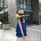 韓風Chic甜美荷葉邊吊帶上衣女夏外穿純色寬鬆顯瘦無袖背心 小確幸生活館