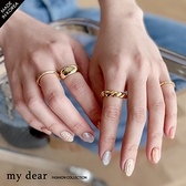 MD韓【A09200148】麻花金屬戒指組合2色
