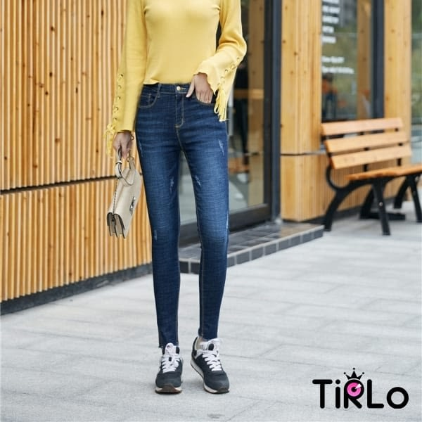 牛仔褲 -Tirlo-褲腳開衩彈性修身牛仔褲-兩色/26-31(現+追加預計5-7工作天出貨)