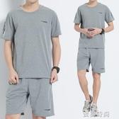 夏季男寬鬆純棉爸爸夏裝套裝中老年人短袖休閒運動服加肥加大碼『蜜桃時尚』