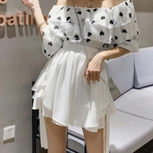 雪紡半身褲裙 女2020夏季新款高腰彈力顯瘦鬆緊傘裙防走光闊腿短裙褲 JX3319『優童屋』
