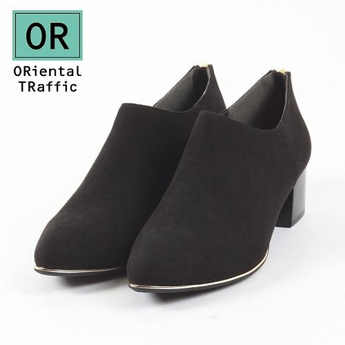 【ORiental TRaffic】俐落金屬線後拉鍊踝靴-俐落黑