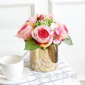 北歐仿真花 玫瑰插花假花裝飾花繡球花客廳裝飾品餐桌盆栽擺件 QX13679 『愛尚生活館』