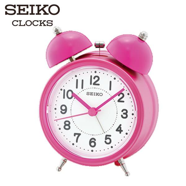 SEIKO 精工鬧鐘 復古床頭響鈴鬧鐘 粉紅 貪睡賴床功能 公司貨保固1年 QHK035P | 名人鐘錶高雄門市