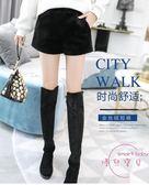 短褲女外穿秋冬新品正韓寬鬆顯瘦黑色毛呢金絲絨高腰闊腿靴褲 新年鉅惠