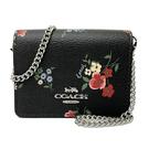 【COACH】經典LOGO花卉鍊帶斜背零錢包(超迷你款-黑)