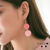 東京著衣-多色少女百搭木圈毛球耳針式耳環(181564)