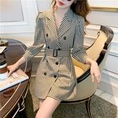 韓國風雙排釦千鳥格紋修身西裝領長袖洋裝 花漾小姐【預購】