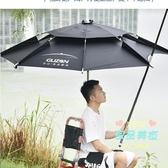 戶外遮陽傘 古山釣魚傘大釣傘2.4米萬向加厚防曬防雨三折疊雨傘戶外遮陽漁具T
