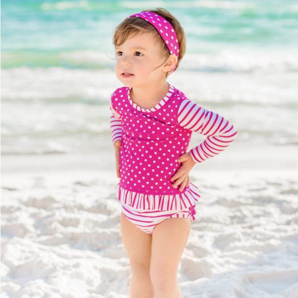 美國Rufflebutts-亮紫條紋點點兩件式長袖泳裝