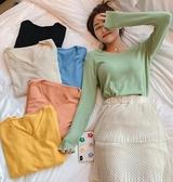 針織長袖 秋冬季新款V領針織打底衫內搭百搭修身毛衣女寬鬆長袖T恤上衣  維多