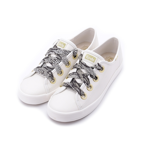 KEDS KICKSTART 奢華蛇紋綁帶皮革休閒鞋 奶油白 9203W123123 女鞋 平底