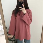 長版T恤 純色長袖T恤女2019新款韓版寬鬆百搭顯瘦打底衫中長款學生上衣 快速出貨