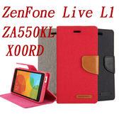 秋奇啊喀3C配件--GOOSPERY 牛仔帆布ASUS ZENFONE LIVE(L1) ZA550KL 手機殼X00RD插卡支架保護皮套