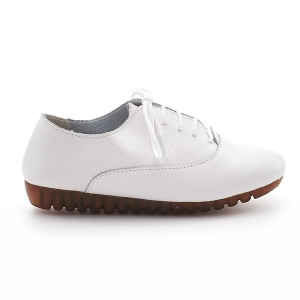 G.Ms. 牛皮簡約素面綁帶休閒便鞋P款-白色